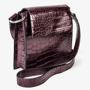 French Connection Structured Crossbody Faux Croco